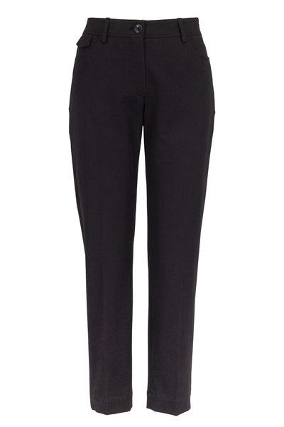 Brunello Cucinelli - Black Stretch Cotton Five-Pocket Cropped Pant