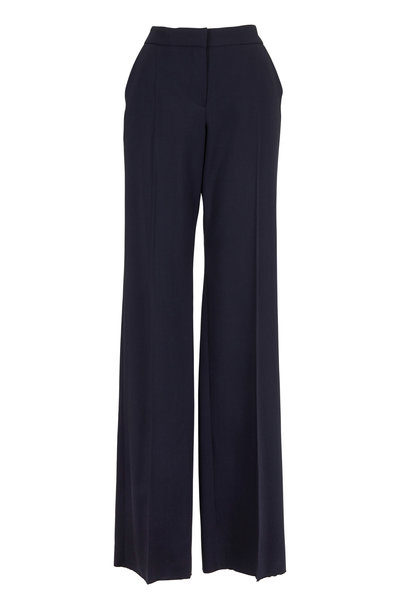 Emporio Armani - Navy Blue Lightweight Wool Flare Trousers