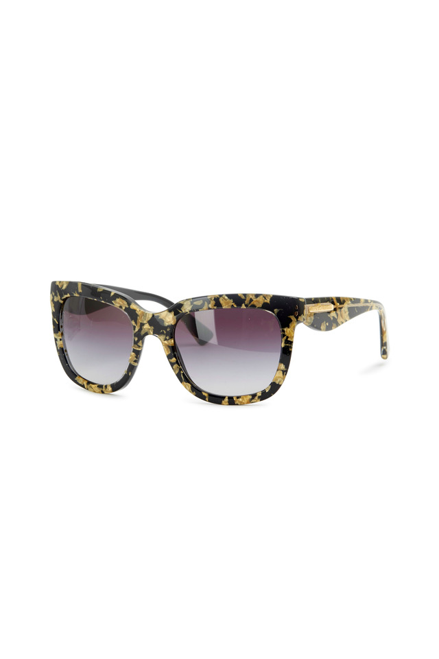 Square Black & Gold Leaf Sunglasses