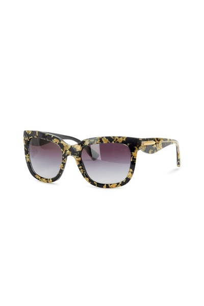 Dolce & Gabbana - Square Black & Gold Leaf Sunglasses