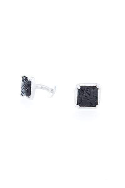 Robin Rotenier - Sterling Silver Carved Onyx Cuff Links