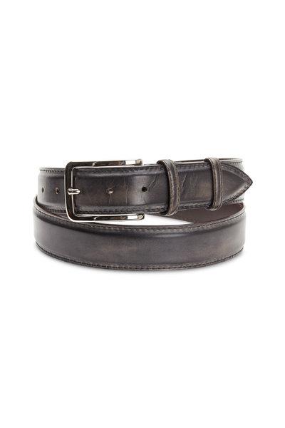 Bontoni - Dark Gray Leather Belt