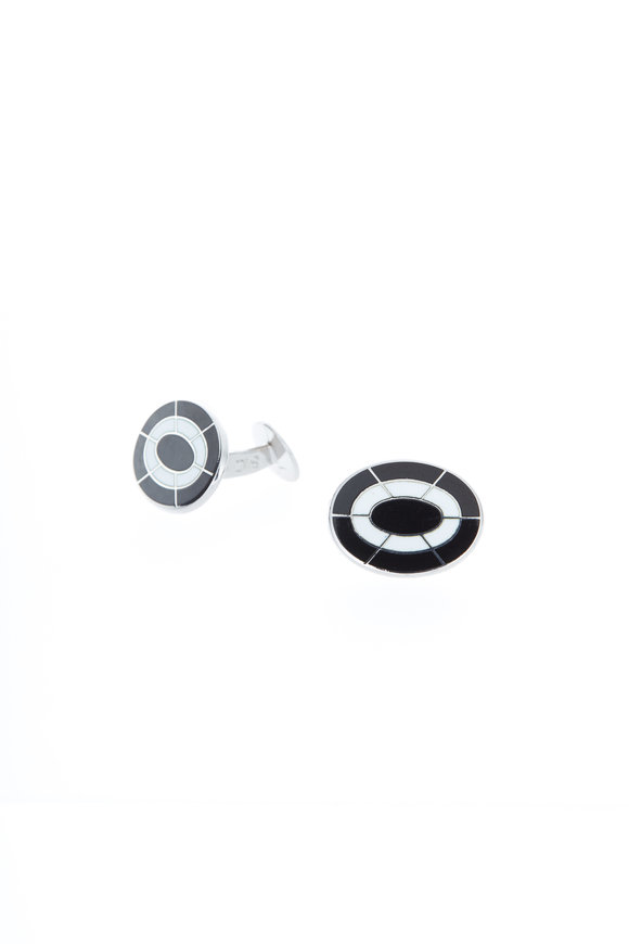 Baade II Sterling Silver Black & White Oval Cuff Links