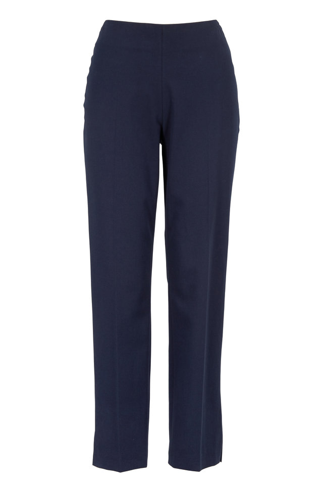 Navy Blue Stretch Cotton Ankle Pant
