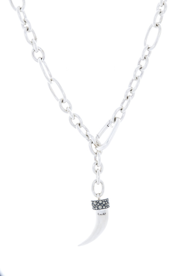 Sterling Silver Marcasite Horn Necklace