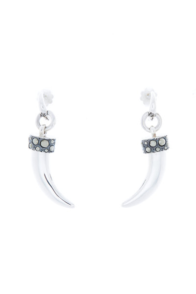 Pomellato - Sterling Silver Marcasite Horn Earrings