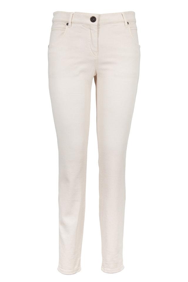 Vanilla Stretch Denim Slim Leg Crop Jeans
