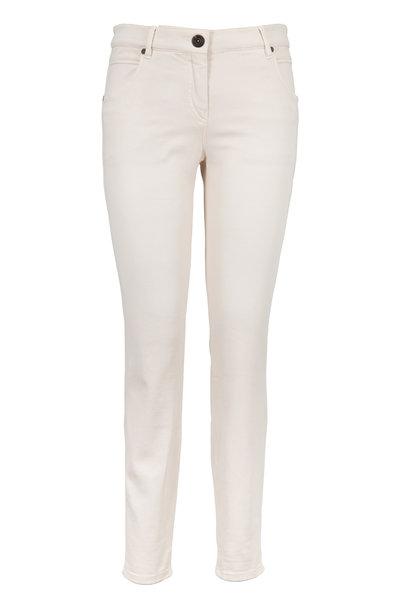 Brunello Cucinelli - Vanilla Stretch Denim Slim Leg Crop Jeans