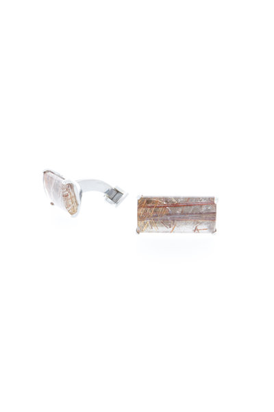 Spivey - Sterling Silver Pink Rutilated Quartz Cuff Links