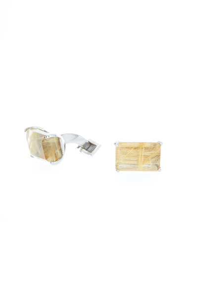 Spivey - Sterling Silver Golden Rutilated Quartz Cuff Links