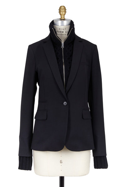 Veronica Beard - Black Wool Blazer With Upstate Dickey