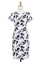 Carolina Herrera - Black & White Archive Pansy Print Sheath Dress