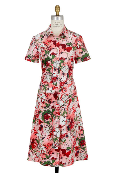 Carolina Herrera - Pink Archive Bouquet Print Shirt Dress