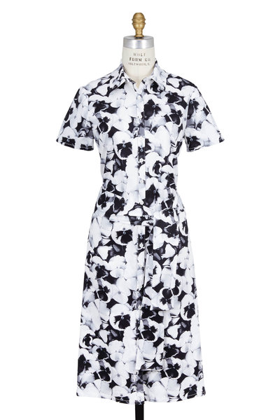 Carolina Herrera - Black & White Archive Pansy Print Shirt Dress