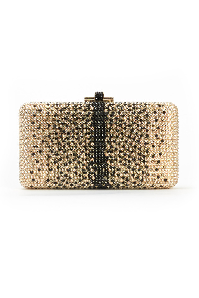 Champagne And Black Beaded Rectangle Minaudier