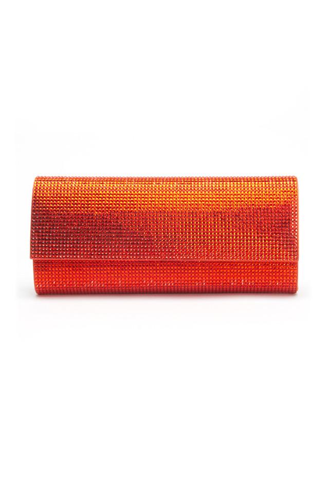 Orange East West Beaded Flap Clutch