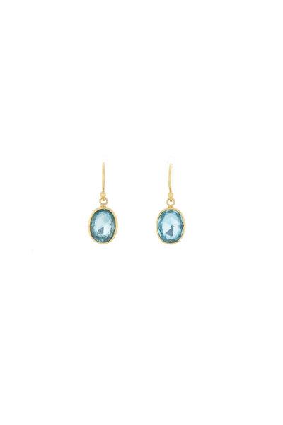 Caroline Ellen - Yellow Gold Blue Zircon Drop Earrings