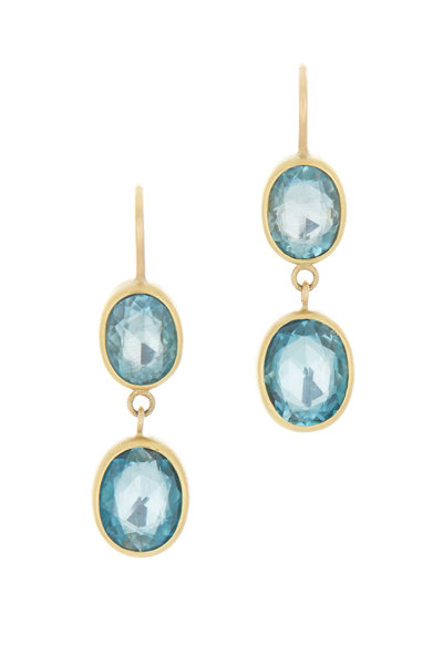 Caroline Ellen - Yellow Gold Blue Zirconia Double Drop Earrings