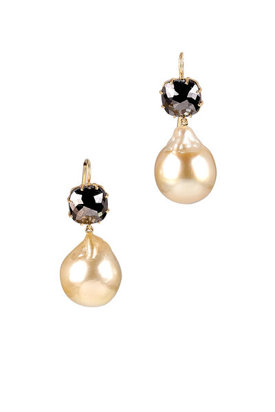 Sylva & Cie - Pearl & Black Diamond Cushion Earring