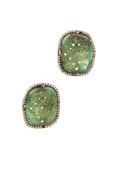 Sylva & Cie - 18K Yellow Gold Carved Emerald & Diamond Earrings