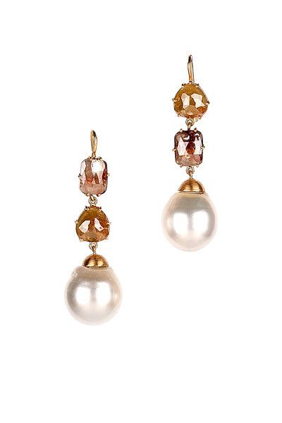 Sylva & Cie - Yellow Gold Baroque Pearl & Diamond Drop Earrings