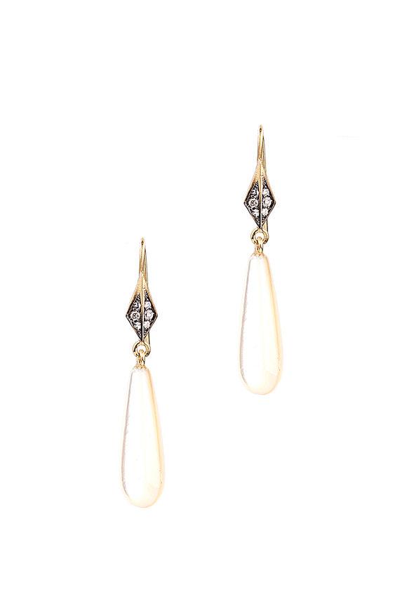 18K Gold Sterling Silver and Diamond Earrings Sylva & Cie. EuOB8tmL