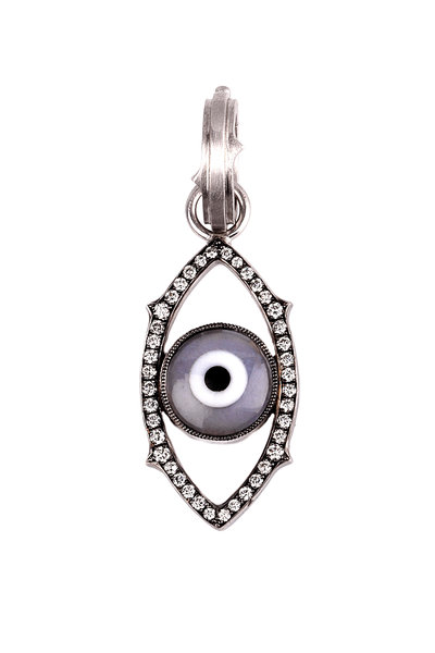 Sylva & Cie - White Gold Gray Agate & Diamond Evil Eye Charm