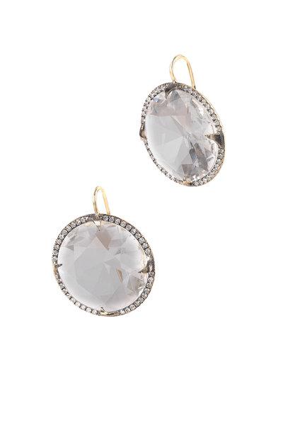 Sylva & Cie - 18K Yellow Gold Quartz & Diamond Drop Earrings