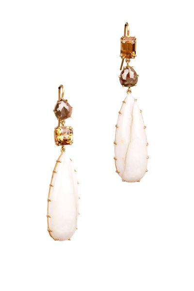 Sylva & Cie - 18K Gold Opal, Zircon & Diamond Drop Earrings