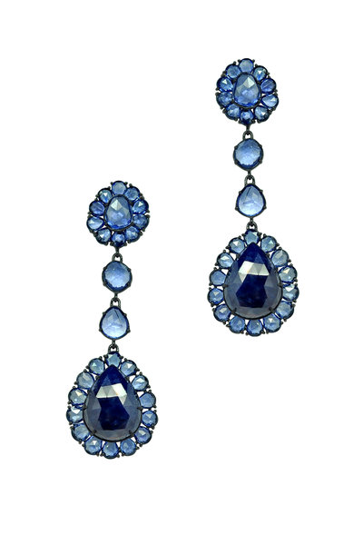 Sutra - Blue & Rough Sapphire Drop Earrings