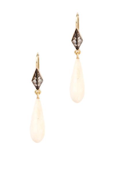 Sylva & Cie - Yellow Gold Mammoth Ivory Diamond Drop Earrings