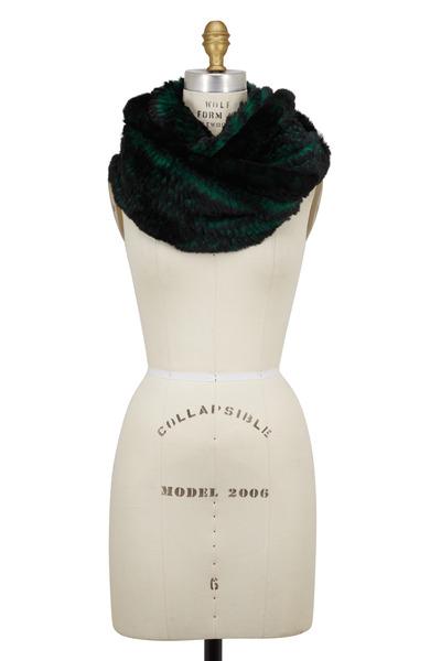 Viktoria Stass - Emerald Green Sheared Fur Blend Infinity Scarf