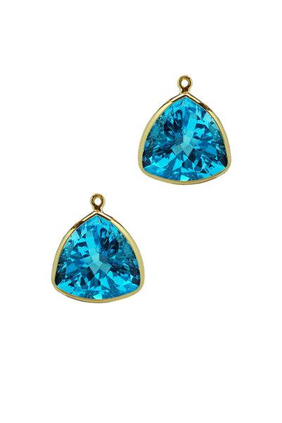 Paolo Costagli - 18K Yellow Gold Blue Topaz Earring Pendants