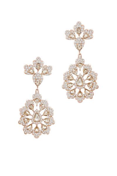 Sutra - Rose Gold All Diamond Dangle Earrings