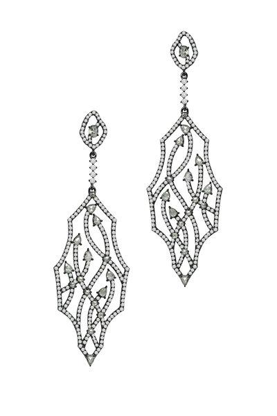 Sutra - Blackened White Gold Fancy Diamond Earrings