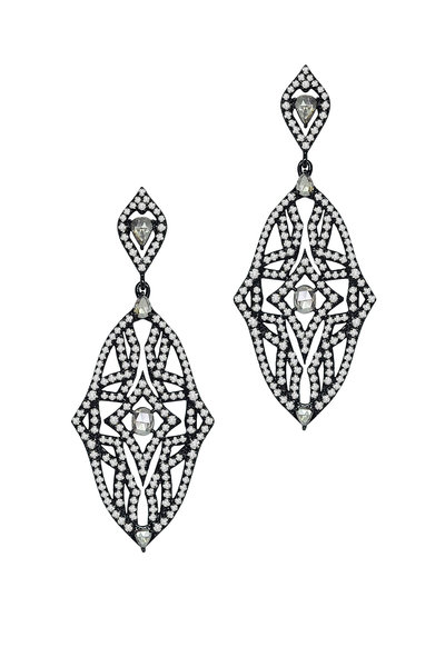 Sutra - 18K Rhodium Gold Diamond Drop Earrings