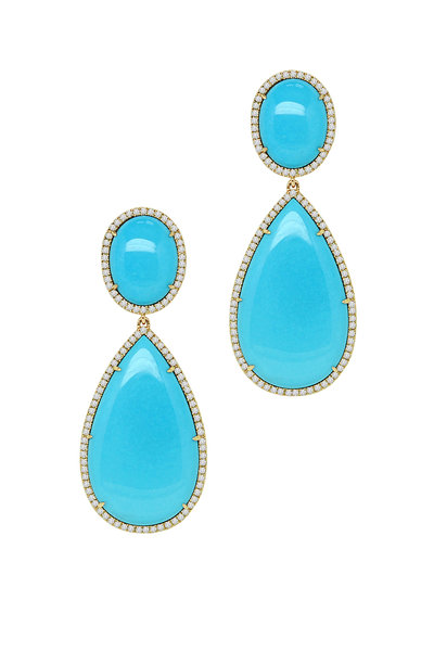 Sutra - Rose Gold Turquoise Diamond Drop Earrings