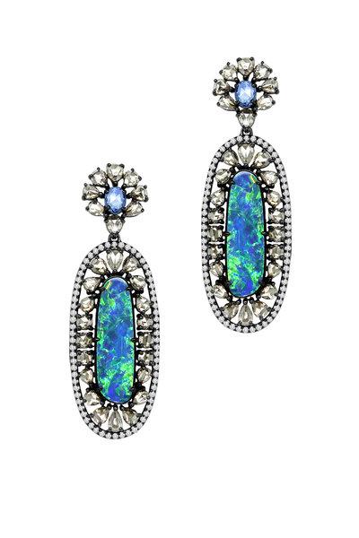 Sutra - Gold Sapphire Opal Diamond Doublet Dangle Earrings