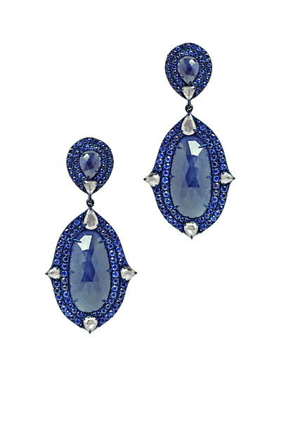 Sutra - 18K White Gold Sapphire Drop Earrings