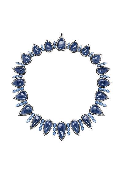 Sutra - Blackened White Gold Sapphire Diamond Necklace