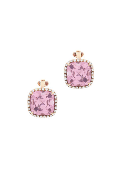 Eclat - Pink Gold Pink Spinel Diamond Clip Earrings