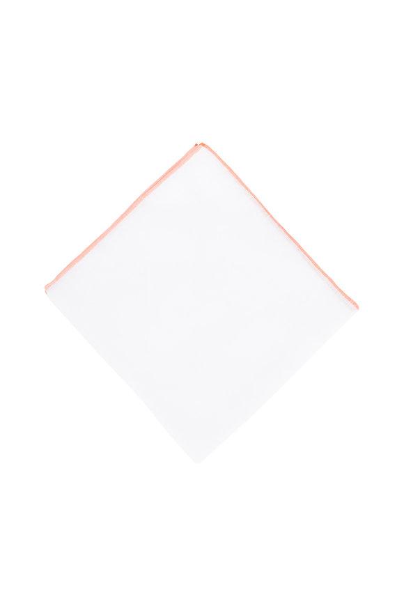 Simonnot-Godard White With Orange Piping Linen Pocket Square
