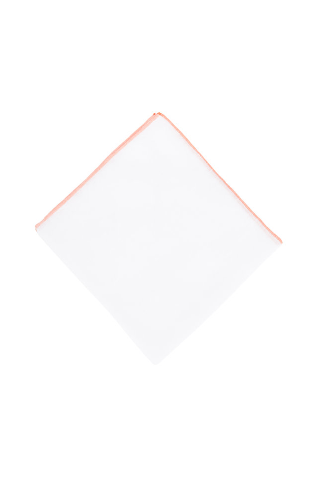 White With Orange Piping Linen Pocket Square