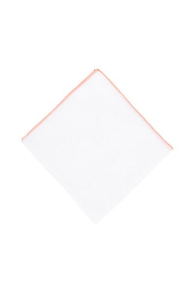 Simonnot-Godard - White With Orange Piping Linen Pocket Square