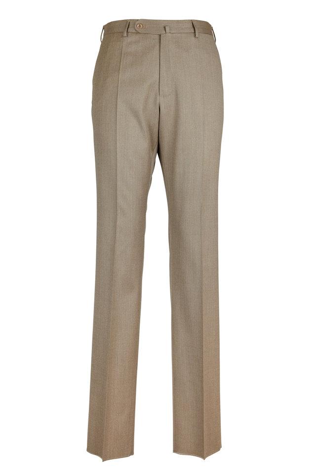 Benson Tan Wool Blend Trousers