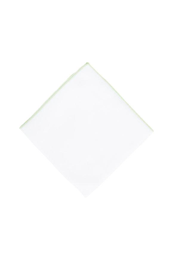 Simonnot-Godard White With Light Green Piping Pocket Square