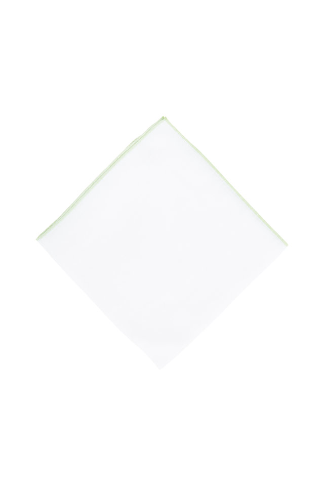 White With Light Green Piping Pocket Square