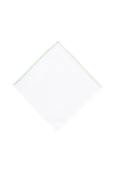 Simonnot-Godard - White With Light Green Piping Pocket Square