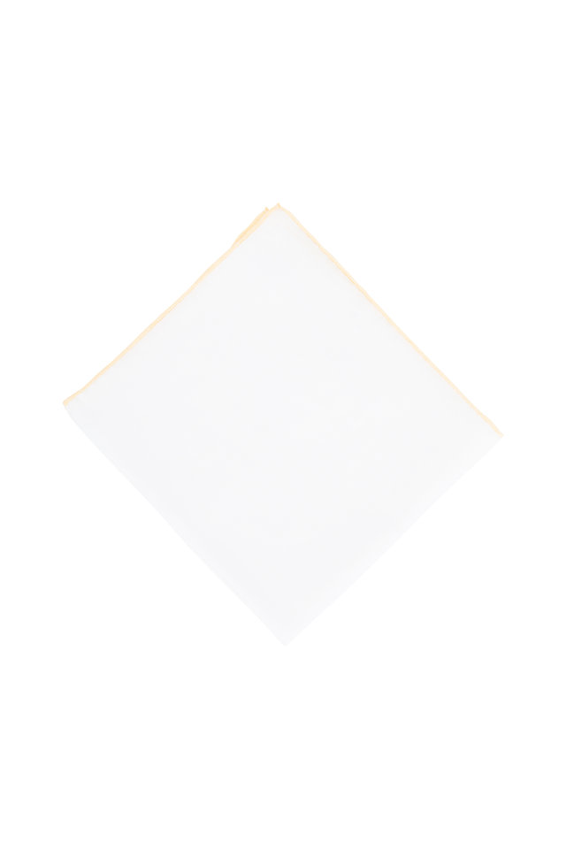 White With Yellow Piping Linen Pocket Square
