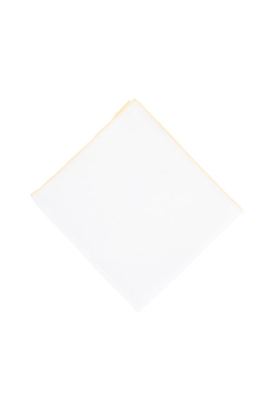 Simonnot-Godard - White With Yellow Piping Linen Pocket Square